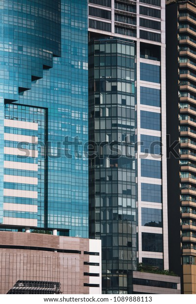 Business Building Blue Sky Reflected Modern Stock Image | Download Now