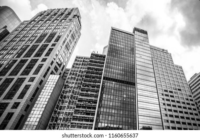 business building in Hong Kong with B&W color