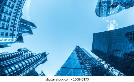 Business buildings, blue toned.