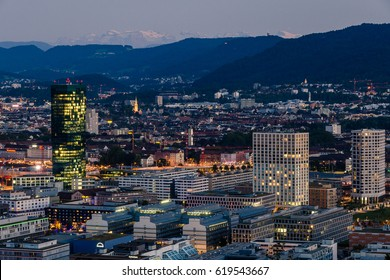 Business Buildings Seen at Dusk, Zurich, Switzerland. Landscape Orientation.