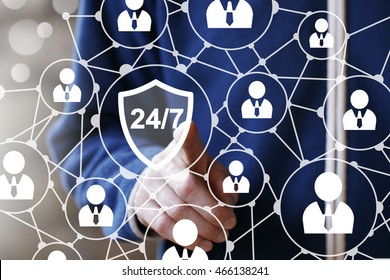 Business button 24 hours service shield security virus network sign