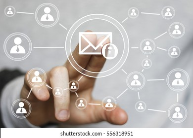 Business button mail lock web security icon email online