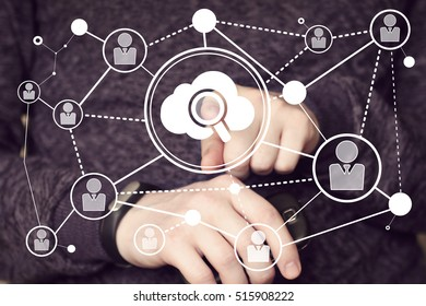Business button search cloud magnifier loupe connection network icon