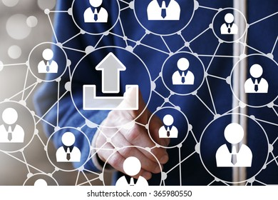 Business button web sign upload connection web