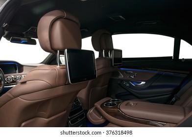Business car interior background.