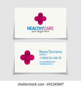 Business Card With Cross Logo Color Modern Style For Use Medical Company Family Medicine Practice