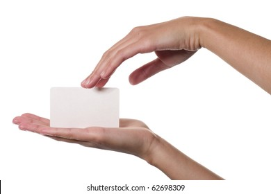 Business card in female hands