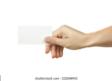 Business card in hand