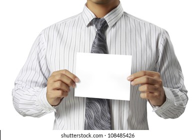 business card in hand business man