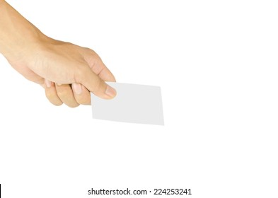 Business card in hand on white background