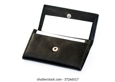 business card holder on white background