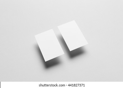 Business Card Mock-Up (85x55mm) - Two Floating Cards