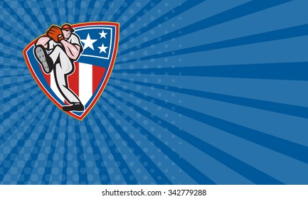 Business card showing illustration of a american baseball player pitcher outfilelder throwing ball set inside stars and stripes shield isolated on white background.