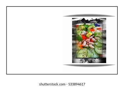 Business card template - fresh healthy salad, copy space and simple border