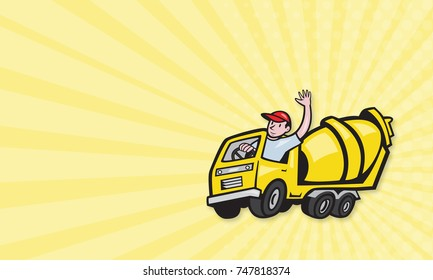 Business card template showing illustration of a construction worker driver driving a cement truck done in cartoon style.