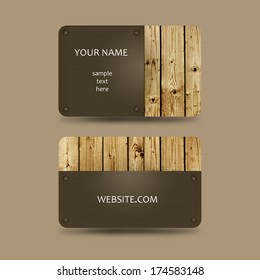 business card template with wooden background