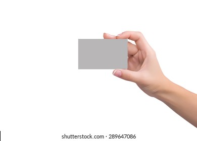 Business card in womens hand