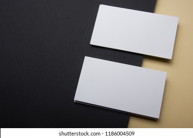 Business cards Mockup on color background. Flat Lay. copy space for text