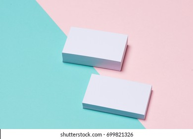 Business cards Mockup on two color background