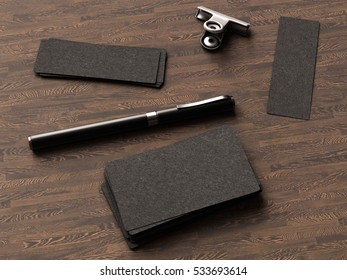 Business cards on wood background. 3D illustration. High quality