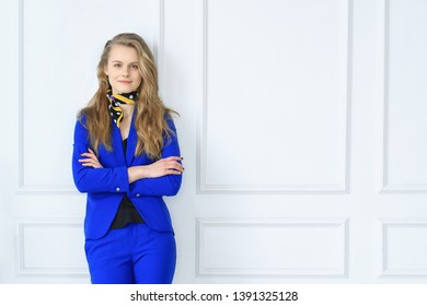 Business and career. Businesswoman in blue dress