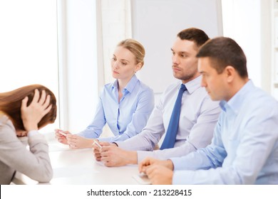 business, career and office concept - businesswoman getting fired in office