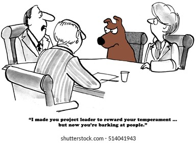Business cartoon about barking at employees.