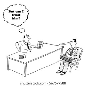Business cartoon about a businessman wondering if he can trust the salesman.