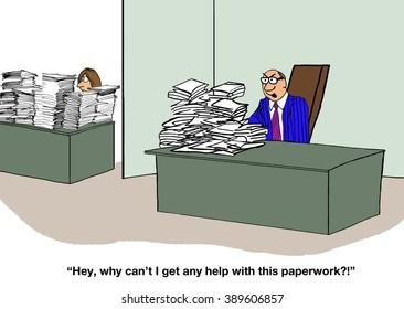 Business cartoon about a difficult boss.