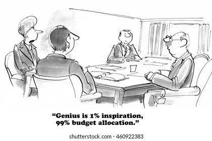 Business cartoon about the importance of budget allocation.