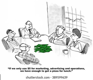 Business cartoon about limited funds available for spending.