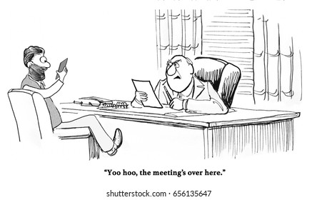 Business cartoon about a business man absorbed with his cell phone and not paying attention in the meeting he is in.