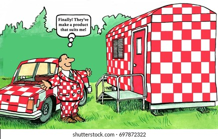 Business cartoon about a man who has found the perfect product, a checkerboard trailer, made just for him.