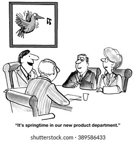 Business cartoon about new products.