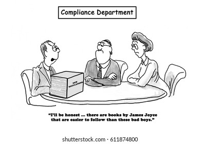Business cartoon about new regulations that are as difficult to follow as a James Joyce novel.