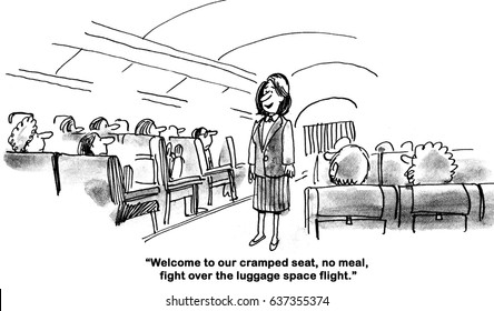 Business cartoon about the no frills approach of the airline industry towards passengers.