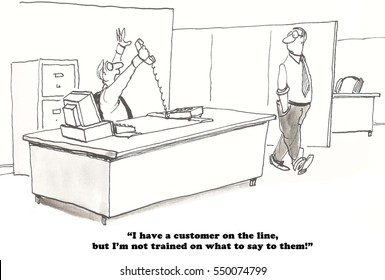 Business cartoon about a salesman who does not have the training to answer the customer's questions.