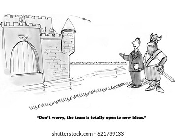 Business cartoon about a team shooting arrows at the team leader with new ideas.