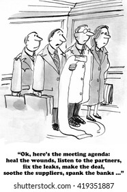 Business cartoon about a very long and confusing meeting agenda.