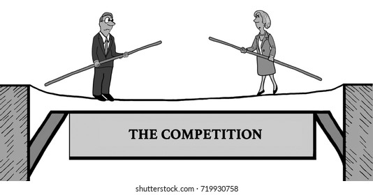 Business cartoon illustration showing two business people, competitors, walking on a tightrope toward each other.