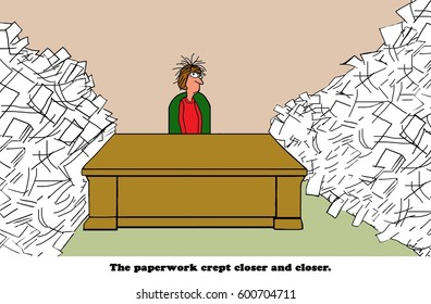 Business cartoon showing a distressed businesswoman surrounded by paperwork.