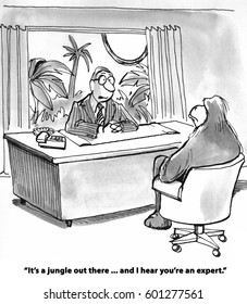 Business cartoon showing a jungle and a gorilla, '.... it's a jungle out there...'.