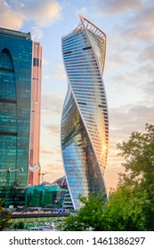 Business center. High houses from the windows. Multi-story houses. Modern buildings. Modern business center. Mirror building. Russia, Moscow , business center Moscow City July 3, 2019