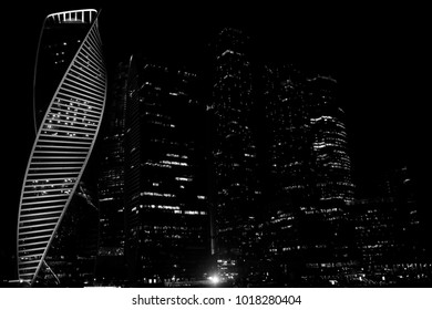 Business center in a large city with high skyscrapers in the evening