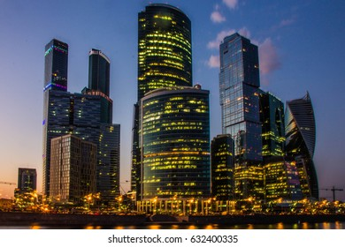 Business center Moscow City, glass skyscrapers at evening