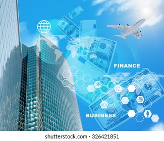 Business center with world map and cash on blue sky background