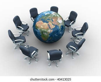 Business chair around the world - global meeting concept - 3d render