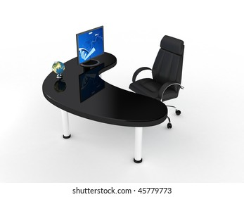 Business chair over white. 3d render