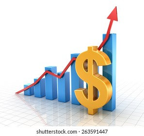 Business chart with dollar symbol and finance concept. 3d render and computer generated image.