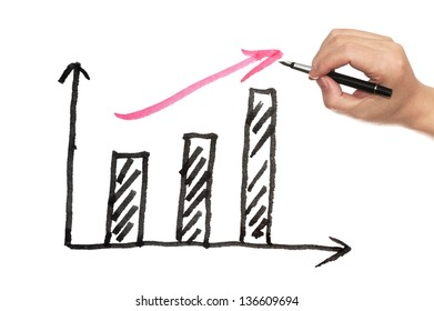 Business chart drawing on white paper